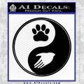 Yin Yang Hand Dog Paw Decal Sticker Black Vinyl 120x120