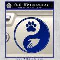 Yin Yang Hand Dog Paw Decal Sticker Blue Vinyl 120x120