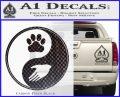 Yin Yang Hand Dog Paw Decal Sticker Carbon FIber Black Vinyl 120x97