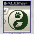 Yin Yang Hand Dog Paw Decal Sticker Dark Green Vinyl 120x120