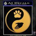 Yin Yang Hand Dog Paw Decal Sticker Gold Vinyl 120x120