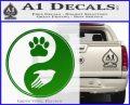 Yin Yang Hand Dog Paw Decal Sticker Green Vinyl Logo 120x97