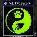 Yin Yang Hand Dog Paw Decal Sticker Lime Green Vinyl 120x120