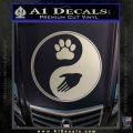 Yin Yang Hand Dog Paw Decal Sticker Metallic Silver Emblem 120x120