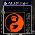 Yin Yang Hand Dog Paw Decal Sticker Orange Emblem 120x120