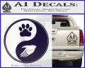 Yin Yang Hand Dog Paw Decal Sticker PurpleEmblem Logo 120x97