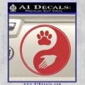 Yin Yang Hand Dog Paw Decal Sticker Red 120x120