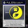 Yin Yang Hand Dog Paw Decal Sticker Yellow Laptop 120x120