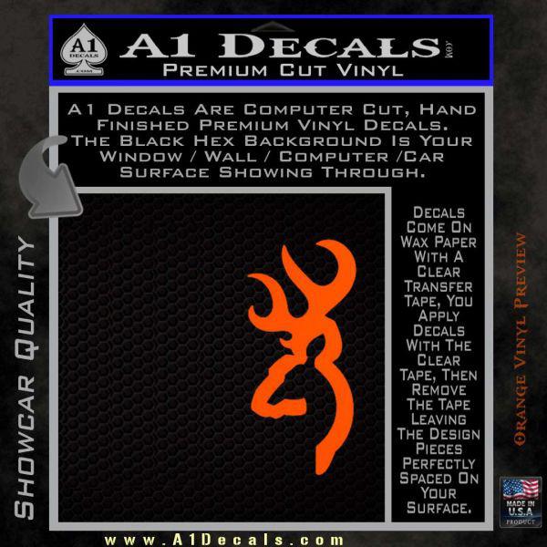 Browning Deer Decal Sticker Orange Emblem1