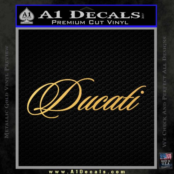 Ducati Script Font Decal Sticker Gold Vinyl