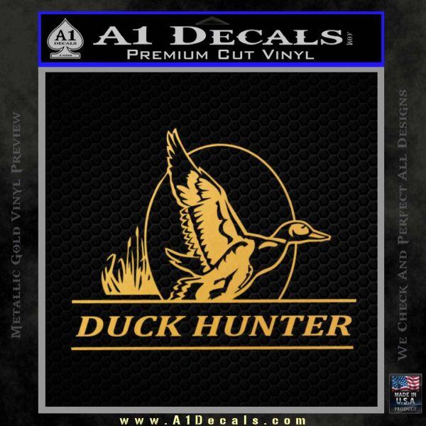 Duck Hunter Decal Sticker Intricate Gold Vinyl