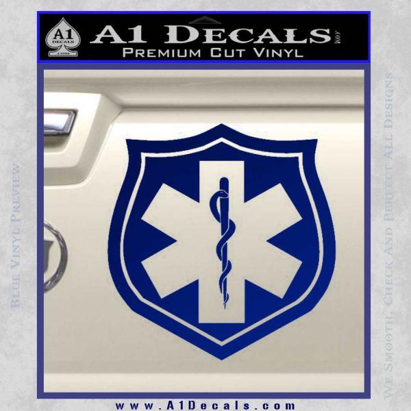 EMS Badge Decal Sticker Blue Vinyl