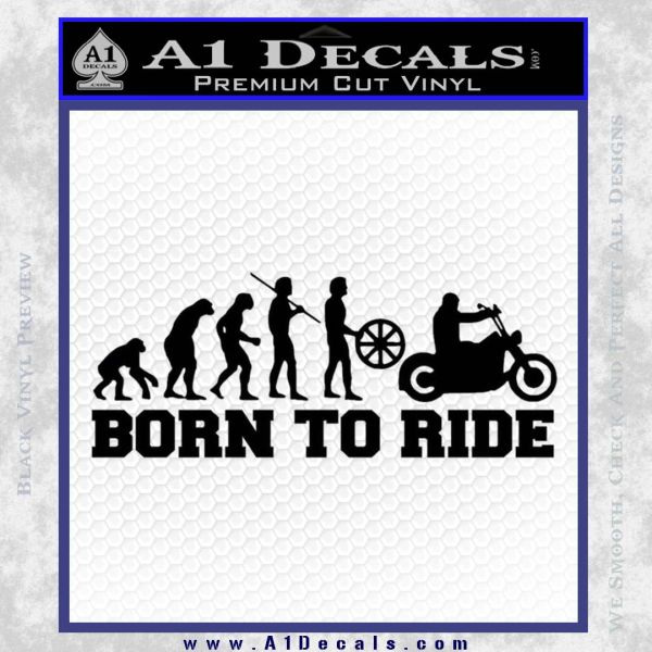 Evolution Born To Ride Motorcycle Decal Sticker Black Vinyl