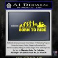 Evolution Born To Ride Motorcycle Decal Sticker Yellow Laptop 120x120