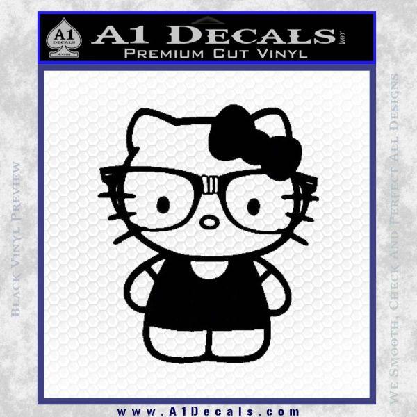 Hello Kitty Nerd Decal Sticker D1 Black Vinyl