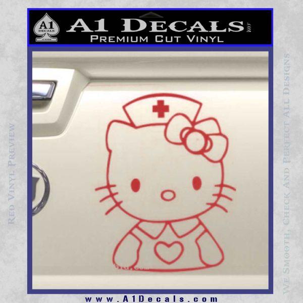Hello Kitty Nurse Decal Sticker Red