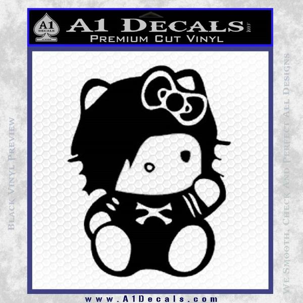 Hello Kitty Punk Emo Decal Sticker Black Vinyl Black