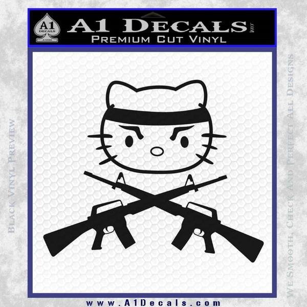Hello Kitty Rambo Guns Decal Sticker Black Vinyl Black