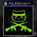 Hello Kitty Rambo Guns Decal Sticker Neon Green Vinyl Black 120x120