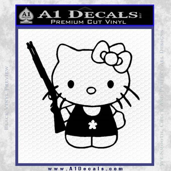 Hello Kitty Shot Gun Decal Sticker Black Shotgun Vinyl Black