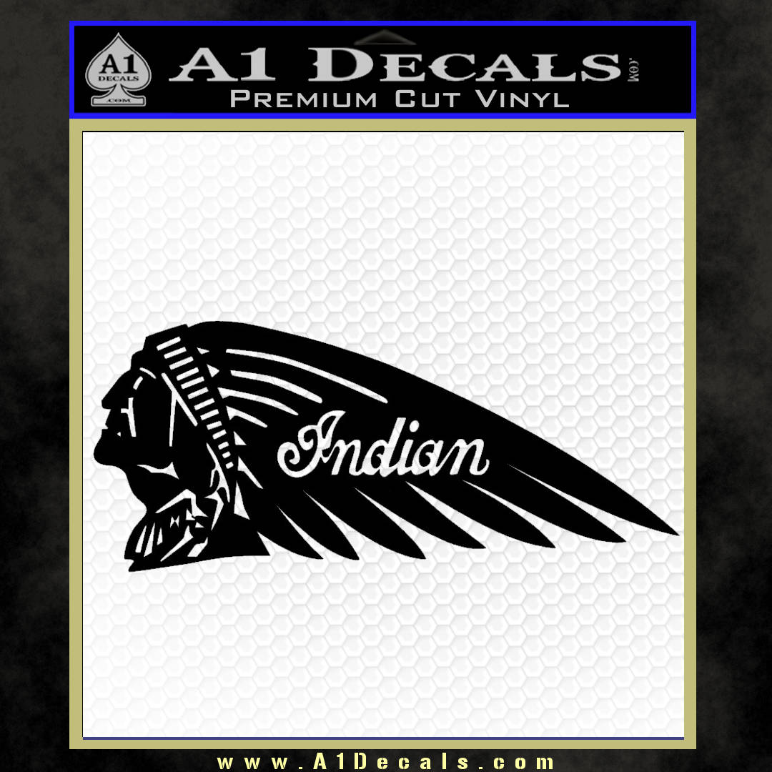 Indian Motorcycle Mirrored Decal Sticker black