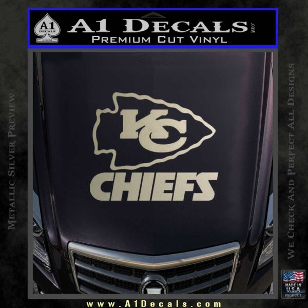 Kansas city chiefs stacked decal sticker metallic silver emblem 120x120