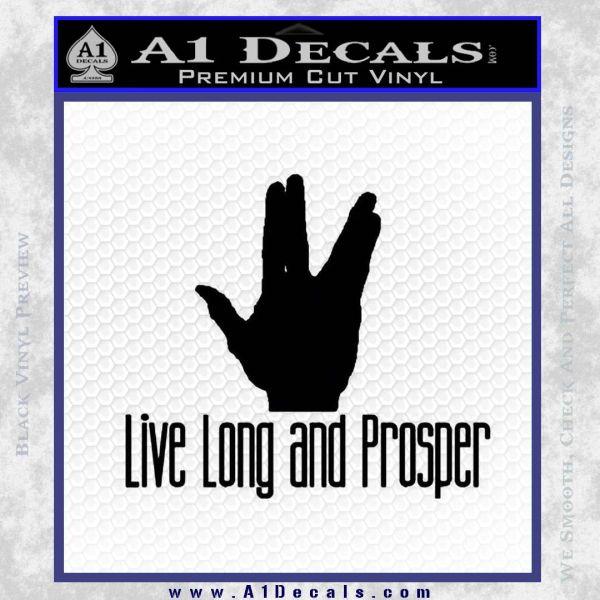 Live Long And Prosper Decal Sticker Black Vinyl