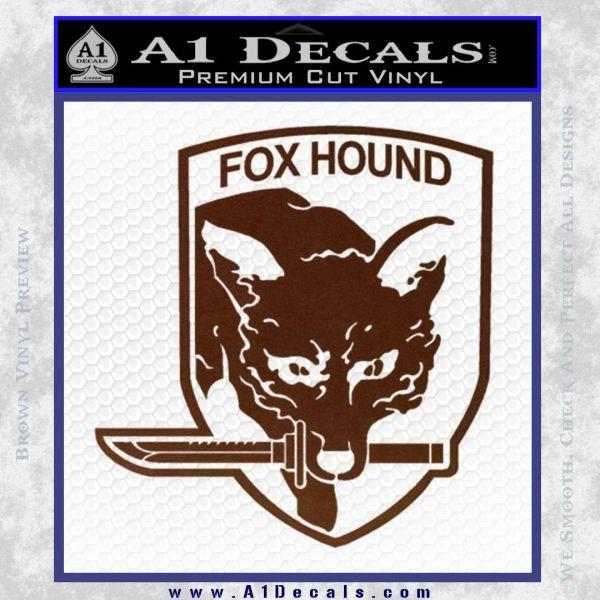 Metal Gear Solid Foxhound Logo Decal Sticker BROWN Vinyl 120x120