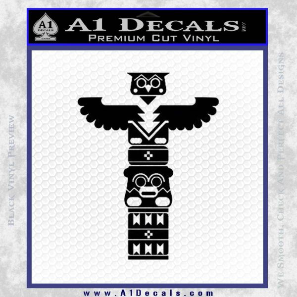 Native American Totem Pole D1 Decal Sticker Black Vinyl