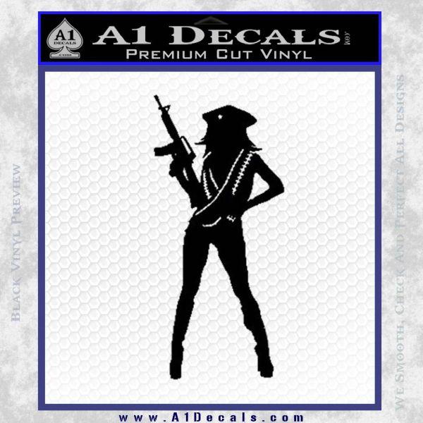 Sexy Machine Gun Chick Ak 47 Decal Sticker Black Vinyl