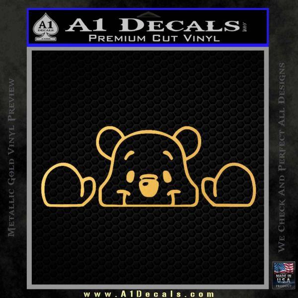 Winnie The Pooh Decal Sticker Peeking Gold Vinyl