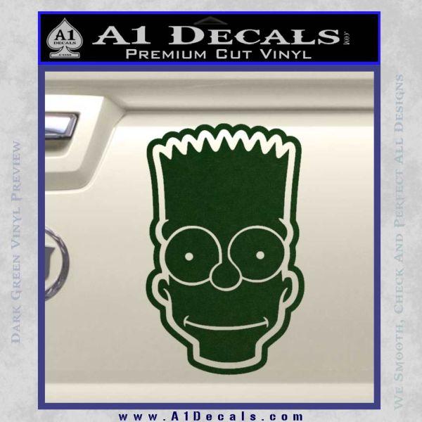 Bart simpson head decal sticker dark green vinyl 120x120