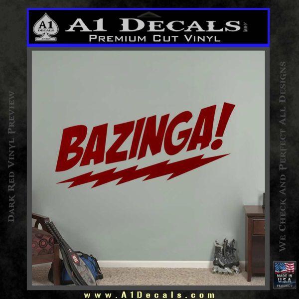 Bazinga Decal Sticker Big Bang Theory D1 DRD Vinyl