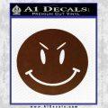 Devilish Smiley Face Decal Sticker 2 Pack BROWN Vinyl 120x120