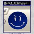 Devilish Smiley Face Decal Sticker 2 Pack Blue Vinyl 120x120