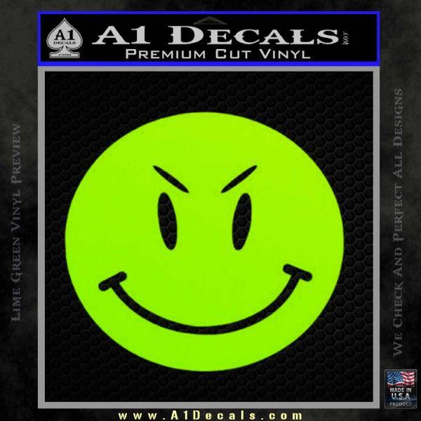 Devilish Smiley Face Decal Sticker 2 Pack Lime Green Vinyl