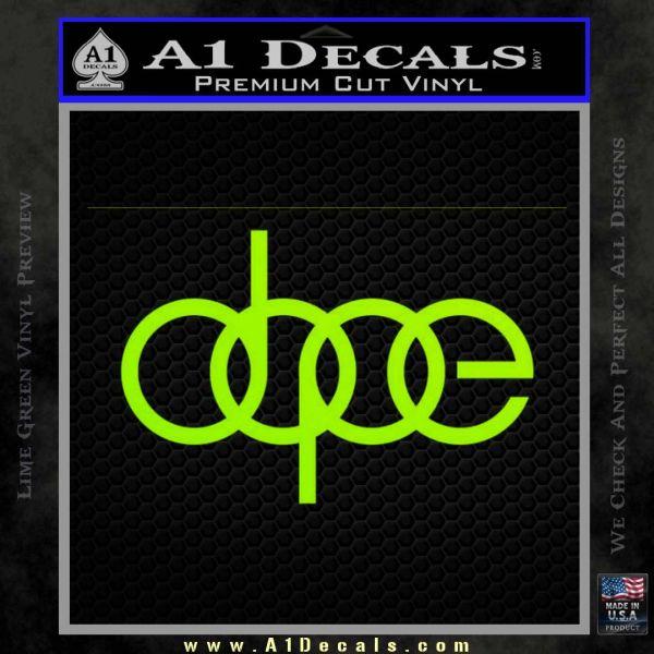 Dope JDM Decal Sticker Audi Lime Green Vinyl