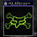 Fox Bones Decal Sticker Lime Green Vinyl 120x120