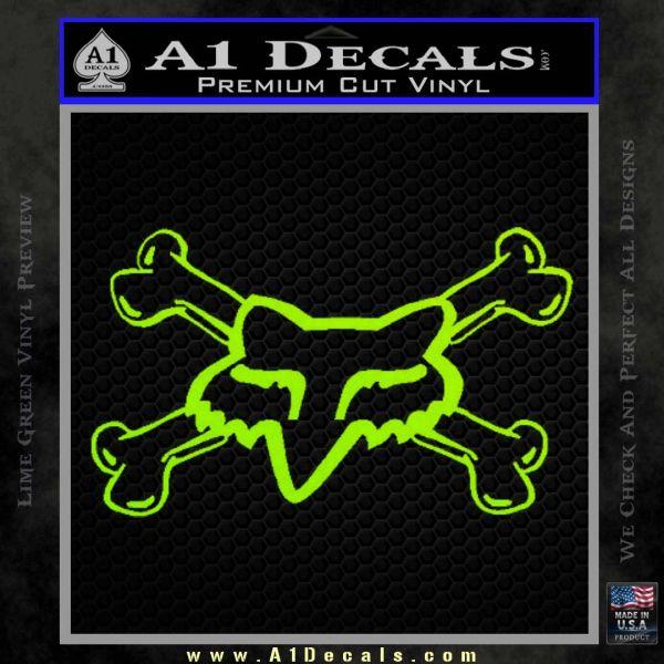 Fox Bones Decal Sticker Lime Green Vinyl