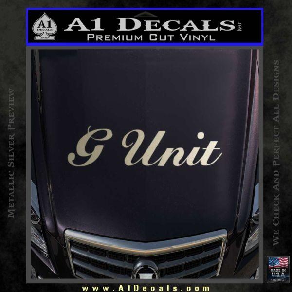 G unit sticker decal wide metallic silver emblem 120x120