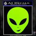 Happy Alien Face Decal Sticker Lime Green Vinyl 120x120