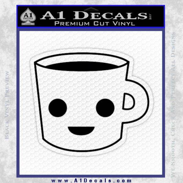 Happy Coffee Tea Cup D1 Decal Sticker Black Vinyl