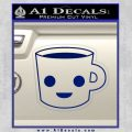 Happy Coffee Tea Cup D1 Decal Sticker Blue Vinyl 120x120