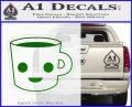Happy Coffee Tea Cup D1 Decal Sticker Green Vinyl Logo 120x97