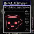 Happy Coffee Tea Cup D1 Decal Sticker Pink Emblem 120x120