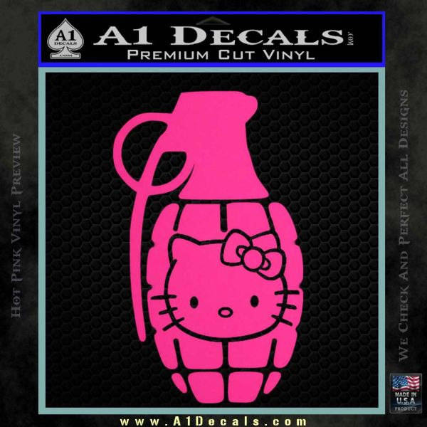 Hello Kitty Grenade Decal Sticker Pink Hot Vinyl
