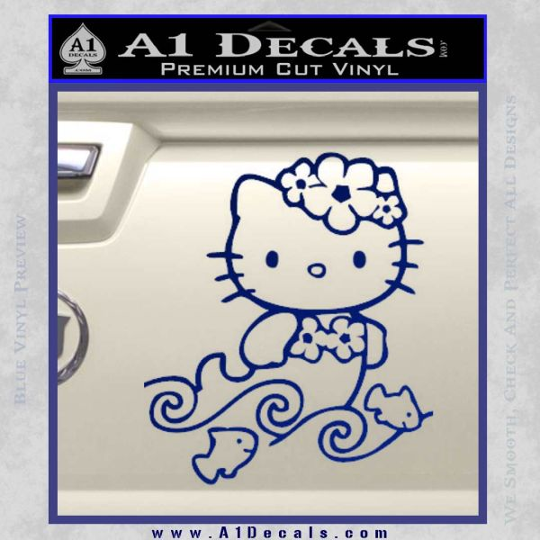 Hello Kitty Mermaid Decal Sticker Blue Vinyl