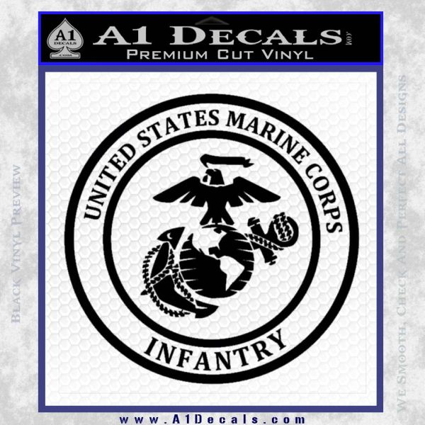 Marine Corp Infantry Emblem D2 Decal Sticker Black Vinyl