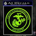 Marine Corp Infantry Emblem D2 Decal Sticker Lime Green Vinyl 120x120