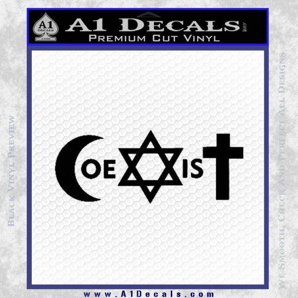 Muslim Jewish Christian Coexist D1 Decal Sticker Black Vinyl